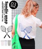 テニスプリントストライプチュニックTシャツ