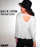 BACKオープンペプラムトップス