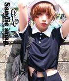 裾結びバイカラーポロシャツ【別売りSET UP】