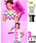 『ANAP』ロゴTシャツ+クリアクラッチバッグ・3点SET