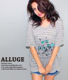 透けボーダーCATプリントTシャツ