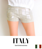 ITALY シルバーペイントプリントショートパンツ