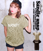 「ARMY」ロゴダメージTシャツ