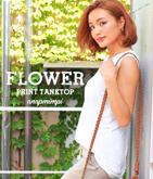 flowerプリントノースリーブトップス
