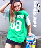 袖ストライプナンバリングTシャツ