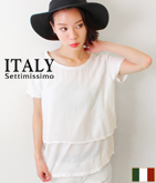 ITALY メッシュレイヤードテールカットTシャツ