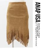 フリンジスウェードミディアムスカート