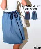 デニム膝丈スカートスカーフ付