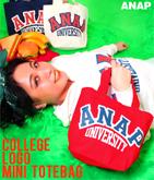 カレッジ風『ANAP』ロゴキャンバスミニトートバッグ
