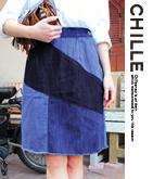 パッチワーク風台形スカート