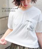 メッセージプリントVネックTシャツ
