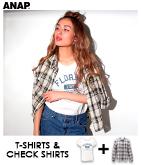 ロゴTシャツ×チェックシャツ・2点SET