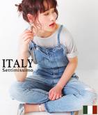 ITALY クリンクル加工デニムサロペット