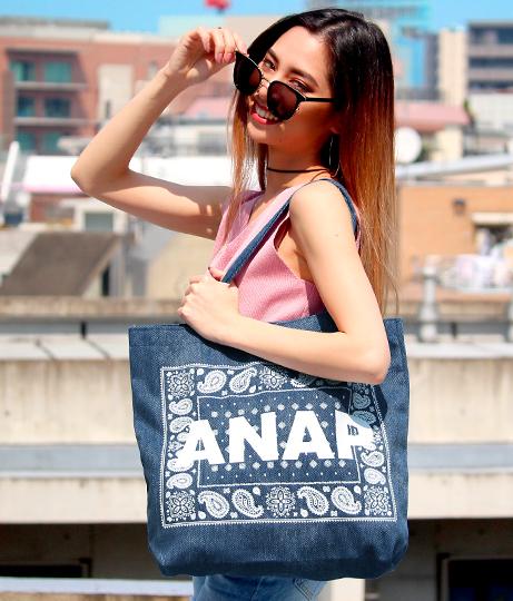 『ANAP』ロゴペイズリーデニムトートバッグ