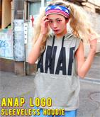 『ANAP』ロゴノースリフーディートップス