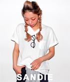 メガネ刺繍VネックTシャツ