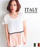 ITALY シフォンギャザーブラウス