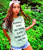 メッセージプリントロール袖Tシャツ
