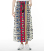 ネイティブ柄ラップロングスカート