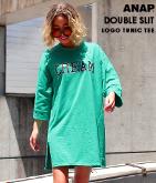 ロゴWスリットチュニックTシャツ