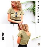 両VネックリブTシャツ