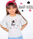袖フレアガールプリント&刺繍Tシャツ