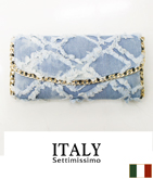 ITALY デニムパッチワーククラッチバッグ