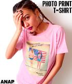 アメリカンガールフォトプリントTシャツ