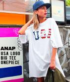 USAロゴTシャツワンピース