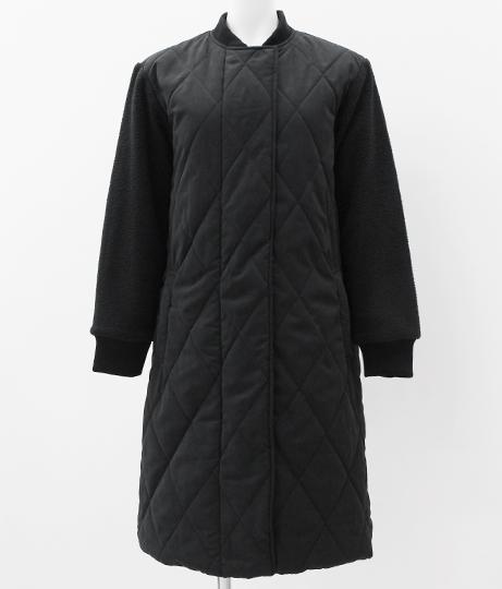 ピーチキルティング×袖ボア切り替えコート|ブラック
