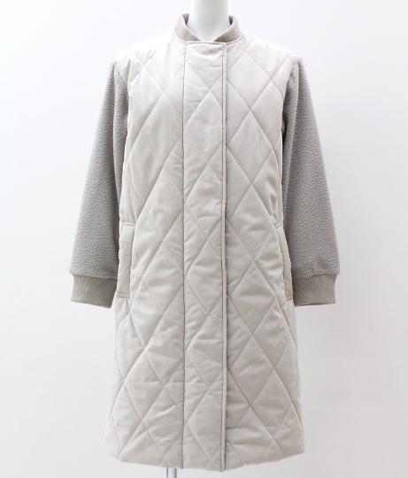 ピーチキルティング×袖ボア切り替えコート|グレー