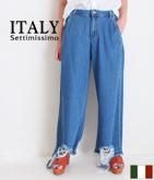 ITALY 裾カットオフダメージデニムパンツ