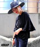 袖フリル7分丈Tシャツ