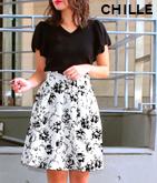 花柄ジョーゼットフロッキースカート