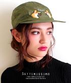 Kitsune刺繍サテンミリタリージェットキャップ