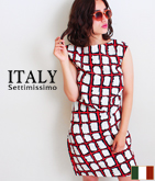 ITALY ラフスケッチチェックタックワンピース