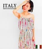 ITALY ストライプ×フラワーティア-ドワンピース