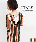 ITALY マルチストライプコクーンワンピース