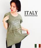 ITALY スパンコールメタリックレースTシャツ