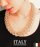 ITALY ゴールドチェーンデコラティブネックレス