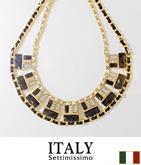 ITALY ビジュー×チェーンデザインネックレス