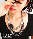 ITALY カラーヤーンビジューデザインネックレス