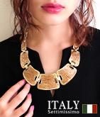 ITALY プレート風ビーズデザインネックレス