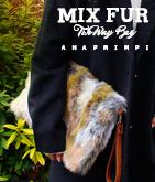 MIXフェイクファークラッチバッグ