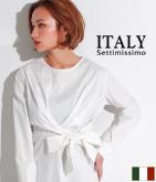 ITALY フロントリボンデザインブラウス