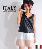 ITALY レザータッチ裾切替ワンピース