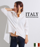 ITALY テールカットコットンシャツ