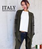 ITALY エコレザースリーブドレープコーディガン