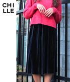 ベロアプリーツミディスカート