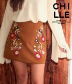 刺繍ダミースエードスカート